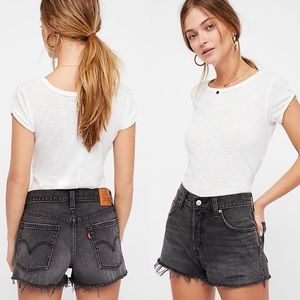 Levi's 501 Cut Off Shorts Button fly Frayed Black